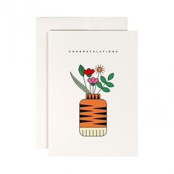 redfries tiger vase – Klappkarte DIN A6 mit Umschlag