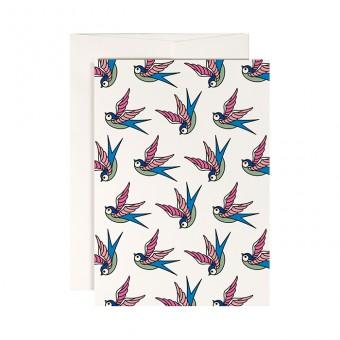 redfries swallow dance – Klappkarte DIN A6 mit Umschlag