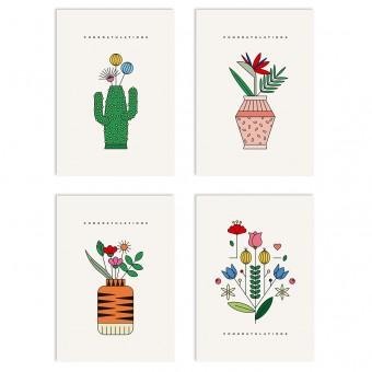 redfries set flower shower – Set mit 4 Klappkarten DIN A6 mit Umschlag