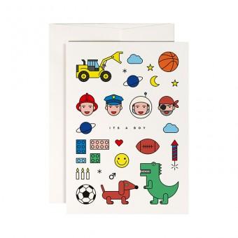 redfries little boy – Klappkarte DIN A6 mit Umschlag