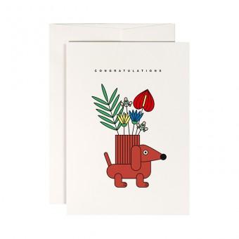 redfries dachshund vase – Klappkarte DIN A6 mit Umschlag