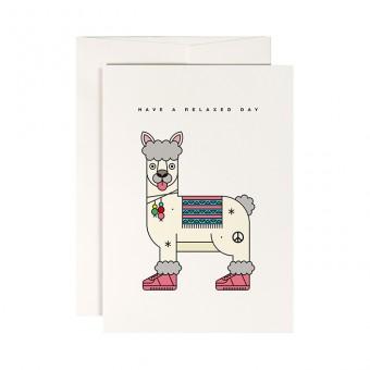 redfries shanti llama – Klappkarte DIN A6 mit Umschlag