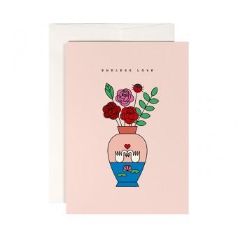 redfries lovebirds – Klappkarte DIN A6 mit Umschlag