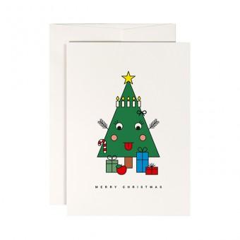 redfries happy tree – Klappkarte DIN A6 mit Umschlag, 3 Stück, Weihnachten