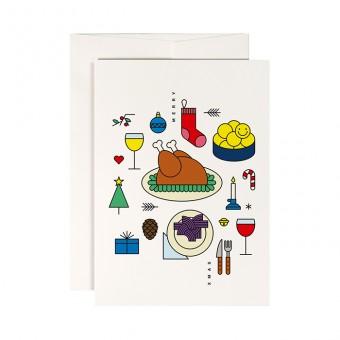 redfries holiday roast – Klappkarte DIN A6 mit Umschlag, 3 Stück, Weihnachten