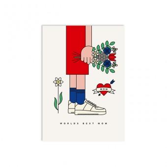 redfries worlds best mom – Postkarte DIN A6 Muttertag