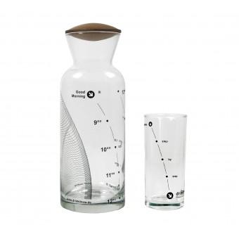 """drinkitnow Karaffenset 1l, Design """"Welle"""" schwarz mit Nussbaumdeckel und Stundenglas"""