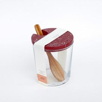 VLO design / Terrazzo Großes Glas mit Holzlöffel & rotem Deckel