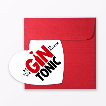 "TYPOP Postkarte ""Gin Tonic"" in Herzform inkl. Umschlag"