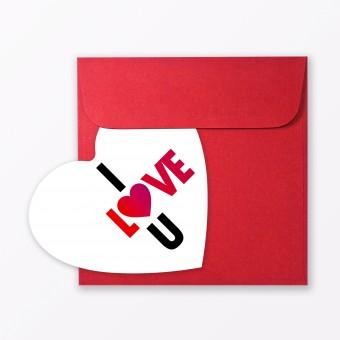 "TYPOP Postkarte ""I love U"" in Herzform inkl. Umschlag"