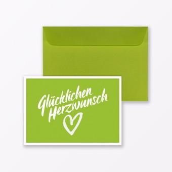 """TYPOP Glückwunschkarte """"Glücklichen Herzwunsch"""" in Grün inkl. Umschlag"""