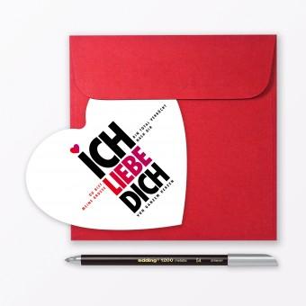 """TYPOP 3-teiliges Set Design GRUSSKARTE """"Ich liebe Dich"""" in Herzform inkl. Umschlag & Stift"""