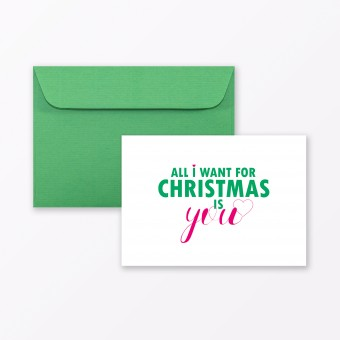 "TYPOP Postkarte ""All I want for Christmas is you"" DIN A6 inkl. Umschlag"