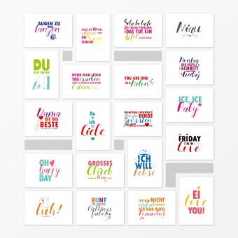 """TYPOP 20-teiliges Postkarten-Set """"Sprüche und Zitate"""" DIN A6"""