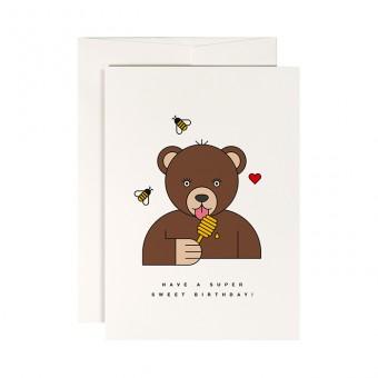 redfries grizzly – Klappkarte DIN A6 mit Umschlag