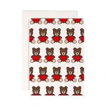 redfries teddy bear – Klappkarte DIN A6 mit Umschlag