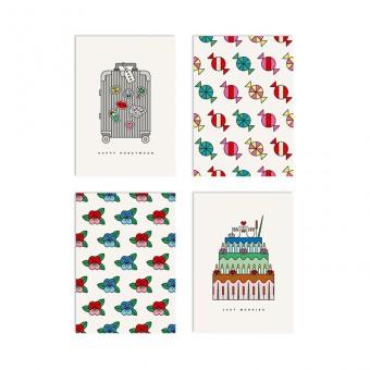 redfries set happy wedding – Set mit 4 Klappkarten DIN A6 mit Umschlag