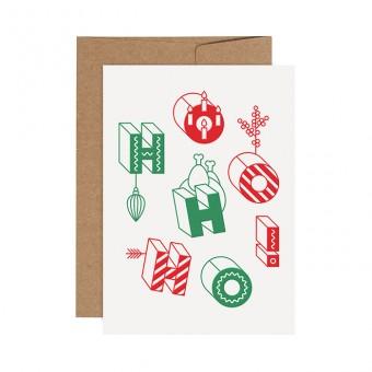 redfries red-green ho ho ho – Letterpress-Klappkarte DIN A6 mit Umschlag