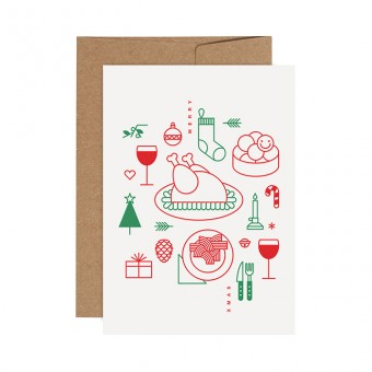 redfries red-green holiday roast – Letterpress-Klappkarte DIN A6 mit Umschlag