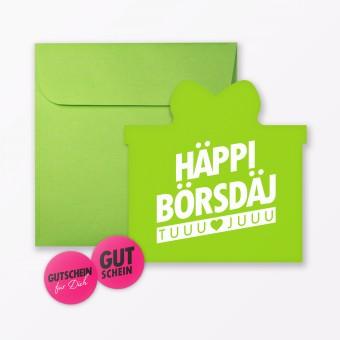 """TYPOP Geburtstagskarte """"Häppi Börsdäj"""" Grün in Geschenkform inkl. Umschlag + 2 Sticker"""