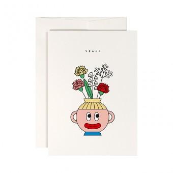 redfries flower head –Klappkarte DIN A6 mit Umschlag