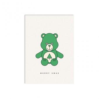 redfries xmas bear – Postkarte DIN A6