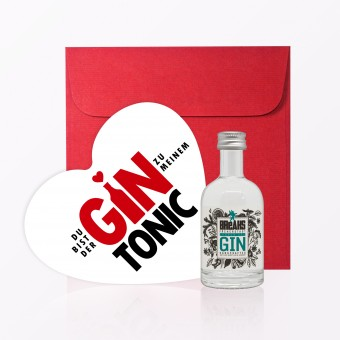 "TYPOP Set ""Gin Tonic"" // Postkarte in Herzform inkl. Umschlag + Little Breaks Gin"