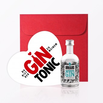 "TYPOP 3-teiliges Set Design GRUSSKARTE ""Gin Tonic"" in Herzform inkl. Umschlag + Little Breaks Gin 44% vol."