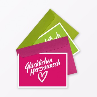 """TYPOP 2-teiliges Set Glückwunschkarte """"Glücklichen Herzwunsch"""" in Pink + Grün inkl. Umschläge"""