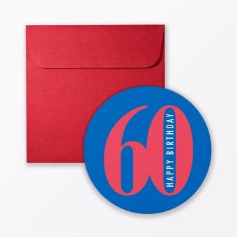 """TYPOP Geburtstagskarte """"Runder Geburtstag 60"""" rund inkl. Umschlag"""
