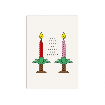 redfries palmtree candlesticks – Postkarte DIN A6