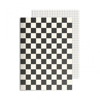 redfries checkered black – Notizheft DIN A5, 2 Stück
