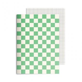 redfries checkered green – Notizheft DIN A5, 2 Stück