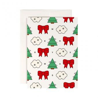 redfries trees and ribbons –Klappkarte DIN A6 mit Umschlag, 3 Stück, Weihnachten