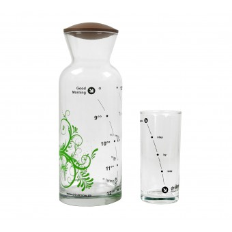 """drinkitnow Karaffenset Design """"Leaf"""" grün mit Nussbaumdeckel und Stundenglas"""