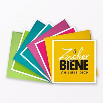 "TYPOP 4-teiliges Set Postkarte ""Kosenamen"" quadratisch inkl. 4x Umschlag farbig"