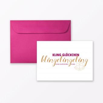 """TYPOP Postkarte """"Kling Glöckchen Klingelingeling"""" DIN A6 inkl. Umschlag"""