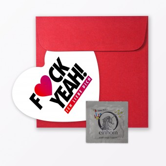 """TYPOP Postkarte """"Fuck Yeah Ich Liebe Dich"""" in Herzform inkl. Umschlag & Kondom"""