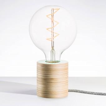 """Lichtliebe Tischleuchte """"Fafoo"""" in weiß und grau meliert inkl. Edison Spiral LED im Retro Design mit nur 1,8 Watt"""