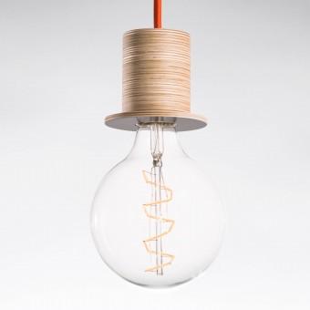 """Lichtliebe Pendelleuchte """"Fafoo"""" in steingrau und dunkelorange inkl. Edison Spiral LED im Retro Design mit nur 1,8 Watt"""