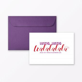 """TYPOP Postkarte """"Lustig lustig tralalalala"""" DIN A6 inkl. Umschlag"""