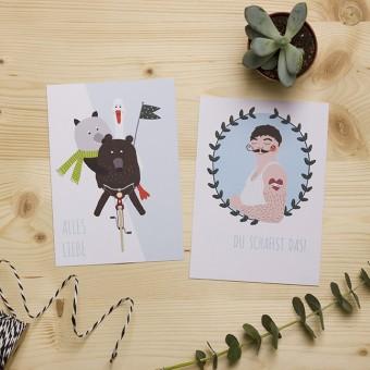 """HEJ Marlen Postkarten """"Alles Liebe"""" und """"Du schaffst das""""   Set aus 2 Karten"""