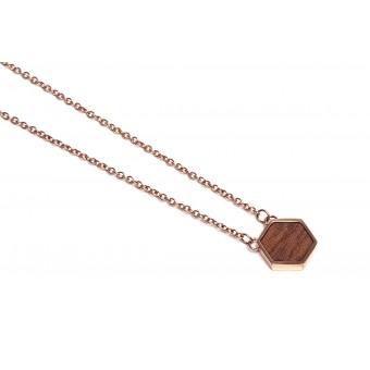 BeWooden Halskette mit Anhänger mit Holzdetail - Rea Necklace Hexagon