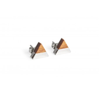 BeWooden Ohrringe - Ohrstecker mit Holzdetail - Red Earrings Triangle