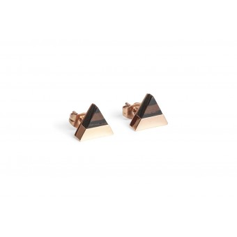 BeWooden Ohrringe - Ohrstecker mit Holzdetail - Rose Earrings Triangle