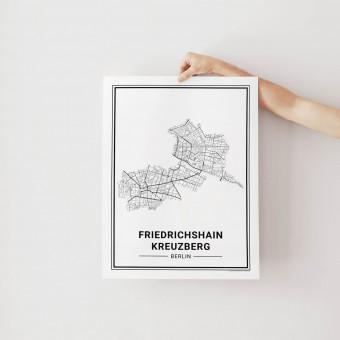 BERLIN Friedrichshain Kreuzberg Poster Stadtplan von Skanemarie