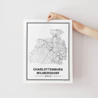 BERLIN Charlottenburg Wilmersdorf Poster Stadtplan von Skanemarie