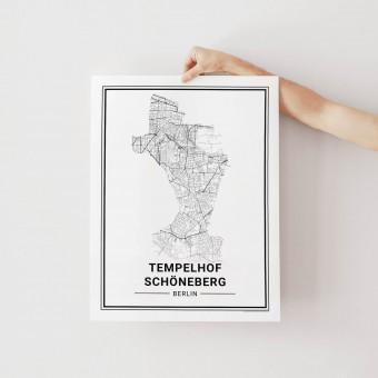BERLIN Tempelhof Schöneberg Poster Stadtplan von Skanemarie