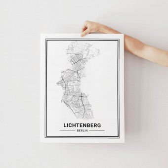 BERLIN Lichtenberg Poster Stadtplan von Skanemarie