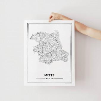 BERLIN Mitte Poster Stadtplan von Skanemarie